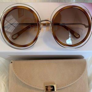 Chloe Carlina Round 52mm Sunglasses
